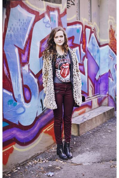 tan leopard Forever 21 coat - chelsea tba boots - oxblood J Brand jeans
