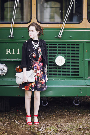 black floral Oasis dress - black motorcycle Hurley jacket