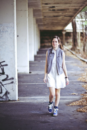 white shirt dress - heather gray utility Target vest - navy denim Keds sneakers