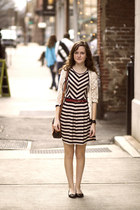 black striped dress - black leather Dooney & Bourke bag