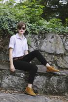 tan thrifted blazer - bronze suede J Crew boots