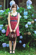 ruby red bird print Judith March dress - dark brown vintage purse