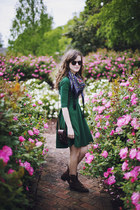 dark brown roper vintage boots - dark green backless August Wrinkle dress