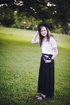 black bowler J Crew hat - black maxi thrifted skirt - white Gap t-shirt