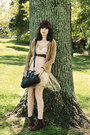 Brown-heeled-suede-bear-traps-boots-beige-tulle-rodarte-for-target-dress