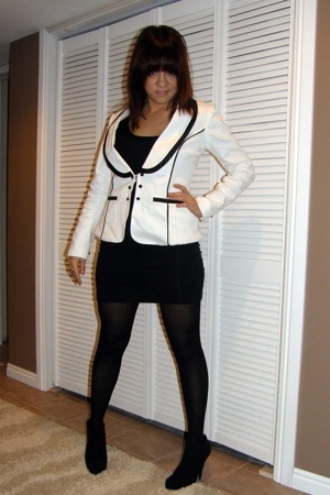 blazer - American Apparel dress - forever 21 tights - forever 21 boots