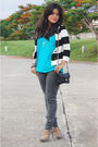 Blue-victorias-secret-shirt-black-mango-jeans-black-topshop-accessories-be