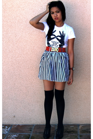black Fashion District stockings - white Hellz Bellz shirt - red Forever 21 belt