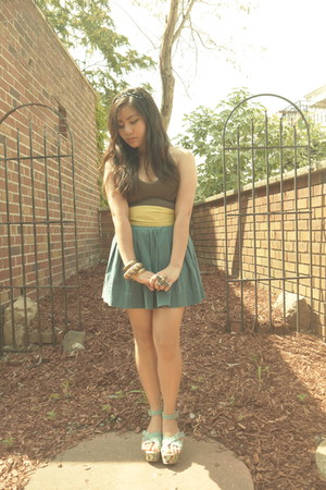 teal Forever 21 skirt - lime green Bayo belt - dark brown Theory top