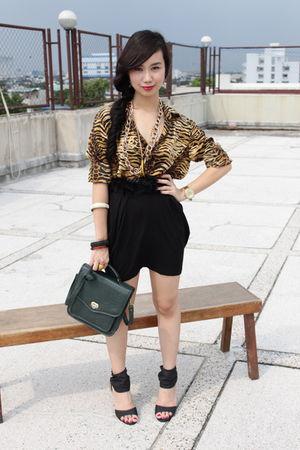 black shoes - green bag - brown Marks & Spencer top - black high-waisted skirt