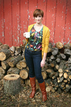 mustard BDG cardigan - Anthro top - navy madewell jeans - bronze madewell boots