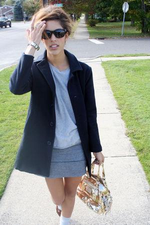 silver Forever 21 sweater - silver wren skirt - gold coach bag - blue American A