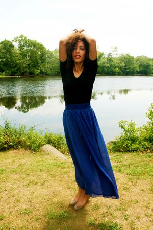 black American Apparel top - blue American Apparel skirt