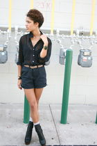 blue American Apparel shorts - black nayla shoes - black American Apparela top