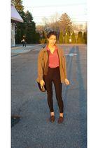brown Celine coat - pink Perry Ellis blouse - black American Apparel pants - bro