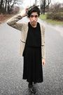 Black-dress-brown-cardigan-black-urban-outfitters-shoes