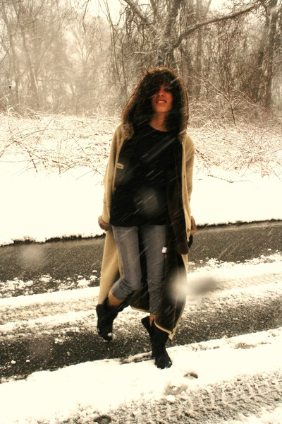 beige thirfted coat - black American Apparel dress - silver Levis pants - black