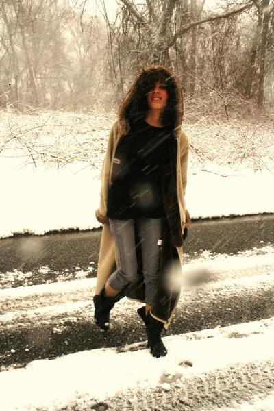 beige thirfted coat - black American Apparel dress - silver Levis pants - black