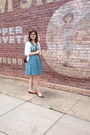 Brown-payless-shoes-turquoise-blue-dress-white-gap-sweater-brown-purse