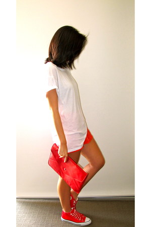 red Converse shoes - white Stylenanda shirt - carrot orange H&M shorts
