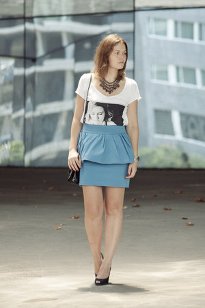 Zara skirt - Zara bag - Forever 21 necklace - pull&bear t-shirt