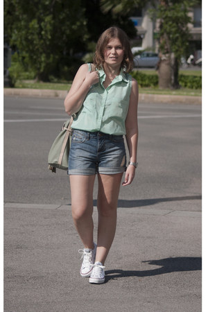 aquamarine BLANCO blouse - aquamarine Stradivarius bag - blue Zara shorts