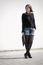 black Bershka shoes - black Bershka shirt - black pull&bear tights