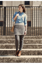 white BLANCO skirt - camel Marypaz boots - light blue Stradivarius shirt