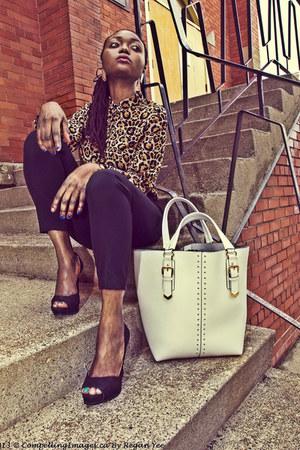 eggshell H&M blouse - white Aldo bag - black Zara heels - black Forever 21 pants