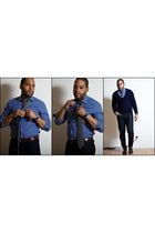 blue H&M shirt - gray Operations NY tie - blue Uniqlo jeans - brown ballys shoes