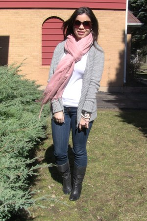 coral scarf H&M scarf - black boots Aldo boots