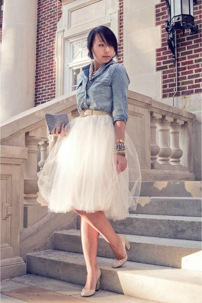 sky blue denim Forever 21 shirt - cream tulle Shabby Apple skirt