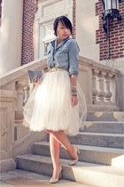 sky blue denim Forever 21 shirt - cream tulle Shabby Apple skirt