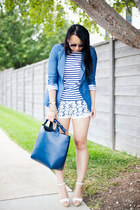 striped Zara top - chambray Lulus blazer