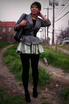 gray vintage blazer - black shoes - black f21 shirt - black bag - blue DIY skirt
