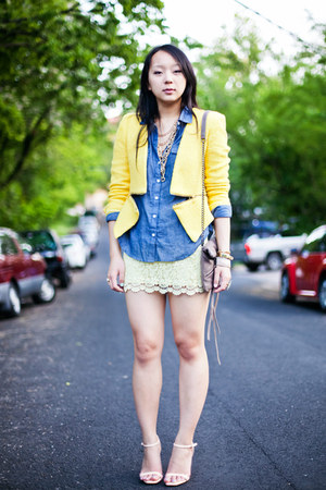 light yellow lace Zara skirt - yellow zipper Zara jacket