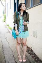 olive green military Forever 21 jacket - aquamarine chiffon Forever 21 dress