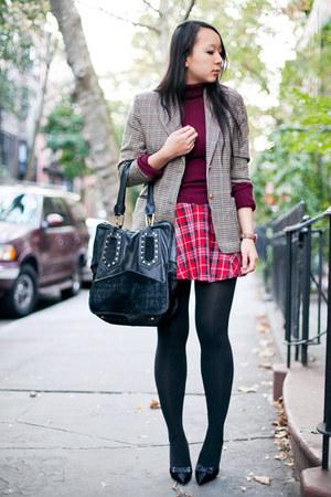 light brown checkered vintage blazer - maroon turtleneck sweater