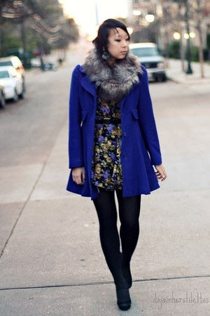 purple floral asos dress - blue wool laundry coat