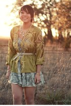 light blue paisley Urban Outfitters dress - chartreuse cut out vintage blouse