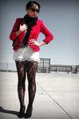 Red-vintage-blazer-topshop-tights-f21-dress-etsy-scarf-silver-random-acc