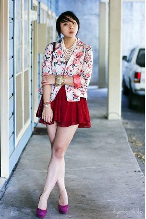 floral Forever 21 blazer - polka dot lucca couture skirt - Bakers heels