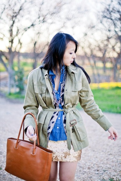 gold sequins skirt - army green military JCrew jacket