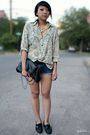 Beige-thrifted-blouse-blue-levis-shorts-black-forever-21-bag