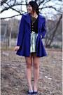 Blue-laundry-coat-green-diy-skirt-black-forever-21-shirt
