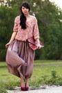 Maroon-pumps-bakers-heels-light-purple-maxi-american-apparel-skirt-pink-flor