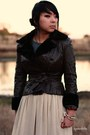 Peach-american-apparel-skirt-brown-vintage-jacket
