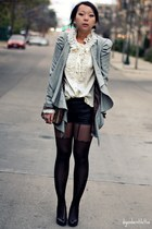 charcoal gray asos blazer - black Forever 21 shorts - white Anna Sui blouse