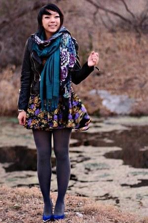black Forever 21 jacket - purple asos dress - blue necessary clothing heels
