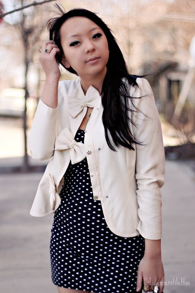black polka dot Wetseal dress - ivory bow thrifted blazer